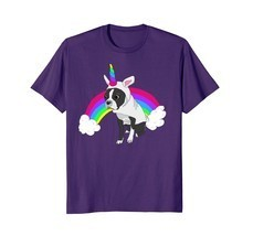 Cute Boston Terrier Unicorn Rainbow Tee Shirt - €15,89 EUR+