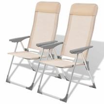 vidaXL 2x Camping Chairs Aluminum Folding Cream Reclining Camp Outdoor Seat - $68.99