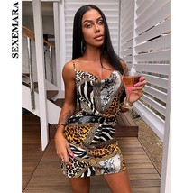 SEXEMARA Zebra Snake Leopard Sexy Bodycon Dress Fashion Animal Print Color Bloc - $35.35
