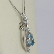 Halskette Weißgold 750 - 18K, Anhänger Aquamarin Oval Karat 0.85 Und Diamant image 2