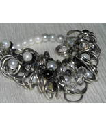 Estate Black Gray & White Bead with Open Silvertone Metal Open Circles S... - $11.02