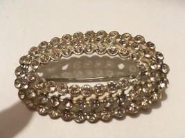 vintage mid century oval rhinestone pin - $5.99
