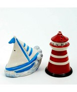 Salt and Pepper Shaker Set Sail Boat Light House Collectible Decorative ... - $20.89