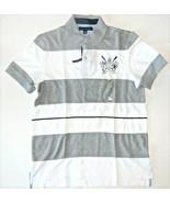 Tommy Hilfiger Mens Polo Shirt Striped Gray White Blue Size Medium NWT - $38.79