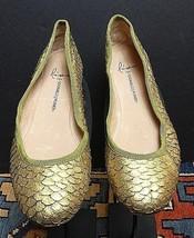 "Women's ""Lisa' Donald J Pliner Gold Leather Embossed Faux-Snake Flat Sz.... - $29.32"