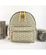 Tory Burch Piper Yellow Green Gemini Link Nylon Leather Small Backpack B... - $242.06