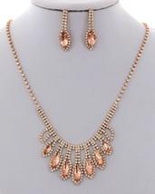 New Rose Gold Tone Rhinestone Fashion Necklace Set  - $25.00
