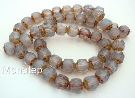 25 6 mm Czech Glass Renaissance Style Beads: Milky Amethyst - $2.89