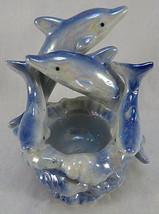"DOLPHIN Sculpture Vintage BLUE Ceramic Iridescent Ashtray 5"" tall - $30.00"