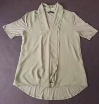 H By Halston Foam Green Shirt M Ruffled Front Semi Sheer Silky Rayon Mat... - $12.86