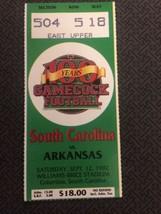 1992 SOUTH CAROLINA GAMECOCKS VS ARKANSAS FOOTBALL TICKET STUB, 9/12 - $10.36