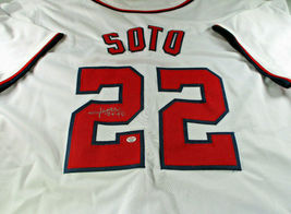 JUAN SOTO / AUTOGRAPHED WASHINGTON NATIONALS WHITE CUSTOM BASEBALL JERSEY / COA