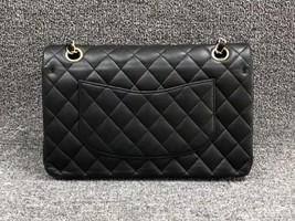 AUTHENTIC Chanel Quilted Lambskin Classic Medium Black Double Flap Bag GHW image 2