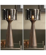 PAIR MID CENTURY MODERN TAPERED WOOD COLUMN TABLE LAMP SMOKE GRAY GLASS ... - $611.60