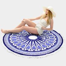Round Beach Towel Navy Blue & White Ethnic Print Poncho with Tassel Trim... - $37.47 CAD