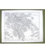 1844 MAP Original Antique - Greece Mediterranean Island Cyclades Naxos - $14.85