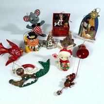 Vtg Christmas Ornament Assortment 1960s-90s Wood Resin Cloisonne Music B... - $17.81