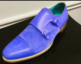 Handmade Men's Blue Double Monk Strap Two Tone Leather & Suede Dress/Formal Shoe image 3