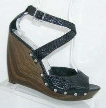 Jessica Simpson 'Kory' black snake print studded sandal platform wedges 10B - $33.30