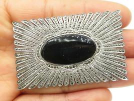 ALBEN 925 Silver - Vintage Black Onyx Sparkling Detail Square Brooch Pin... - $86.51