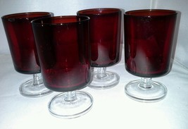 4 Luminarc Ruby Verrerie D'Arques France 6 Oz Wine Glasses Clear Stem Glass - $14.99
