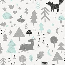 Carousel Designs ICY Mint and Silver Gray Baby Woodland Fabric by The Yard - Org