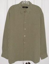 BUGATCHI UOMO MEN'S DRESS SHIRT MODAL RAYON TAN & LIGHT BLUE PLAID SZ LA... - $25.49