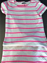 Gap Gray Pink Striped T Shirt Dress Petites - S... - $18.52