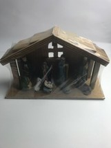Nativity Set of 9 Painted Porcelain Figurine With Wooden Stable Christma... - $34.65
