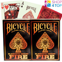 2 Decks Of Bicycle Fire Elements Series Poker Playing Cards Orange Red New - $11.48