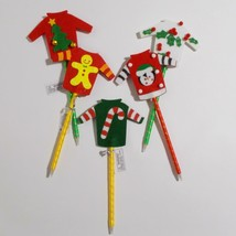 Ugly Sweater Pen Lot 5 Novelty Christmas Gift Item Tree Penguin Candy Cane - $19.79