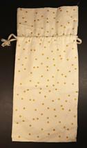 Gold Glitter Dots Decorative Canvas Wine Gift Bag w/ Drawstring - €7,24 EUR