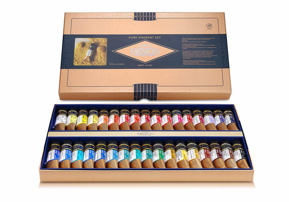 Mijello Mission Gold Class Watercolor Paint Pure Pigment 34 Colors MWC-1534P