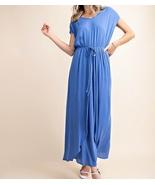 Blue Wrap Dress, Blue Wrap Maxi Dress, Faux Wrap Dress, Colbert Clothing, Womens - $48.99