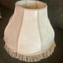LARGE vintage lamp shade Victorian cream brocade floral fringe - €69,43 EUR