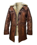 Dark Knight Rises Bane Genuine Leather Shearling Brown Ginger Trench Coa... - $97.00+