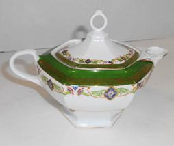 VINTAGE M Z AUSTRIA EARLY MORITZ ZDEKAUER SMALL TEA POT GREEN AND GOLD TRIM - $39.60