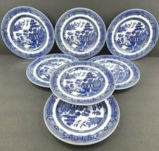 "7 Johnson Bros England 1883 Willow Blue Salad Plates Set 7 7/8"" Asian Pa... - $78.87"