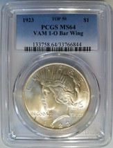 1923 Silver Peace Dollar PCGS MS 64 Vam 1O Bar Wing Variety Mint Error T... - $439.99