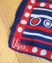 Vintage 60s Vera Neumann rectangular silk scarf (Red, White & Blue) image 3