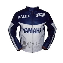 Yamaha Ralex R1 Men Blue Motorcycle Leather Jacket Safety Pads XS to 6XL - $149.99+