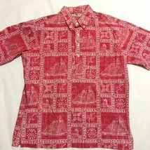 Reyn Spooner Red Sailing Hawaiian Button Down Dress Shirt Large - $46.75