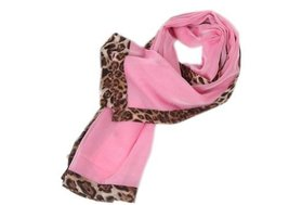 Fashion Nice Woman and Girl Leopard Solid Infinity Chiffon Scarf Shawl Pink