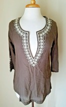 Eddie Bauer 100% Cotton Summer Beach Brown Embroidered Cotton Tunic Blouse S - $13.90