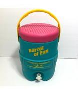 Vintage 90s Igloo Cooler Water Dispenser Barrel of Fun 2 Gallon Teal Pin... - $39.95