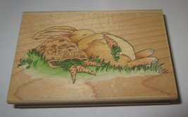 "Butterbean Bunny Rubber Stamp Rabbit Carrots Sleeping Nap 4"" Long Stamps Happen - $9.89"