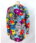 Vtg 80s Puffer Jacket Rainbow Tropical Floral Quilted Open Front Blazer ... - $24.74
