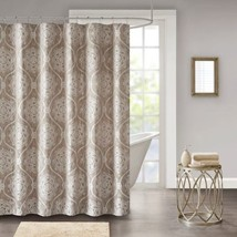 "Luxury Taupe Medallion Woven Jacquard Fabric Shower Curtain - 72x72"" - $47.49"