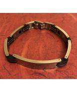Vintage Tttanium Men ID Bracelet Silver/blackTone Curb Chain ETCHE Jmw - $14.75