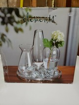 new crystal clear bud vase flower garden tray, 3 bud vases & clear glass... - $19.80